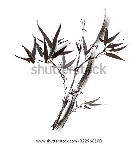 Card with bamboo on white background in sumi-e style. Hand-drawn with ink.  - stock vector
