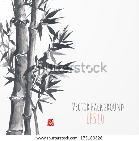 Card with bamboo on white background in sumi-e style. Hand-drawn with ink. Vector illustration. Traditional Japanese painting. - stock vector