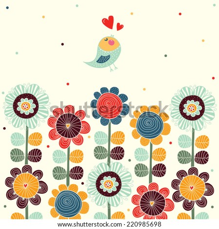 Card with bird and flowers. Decorative illustration - stock vector