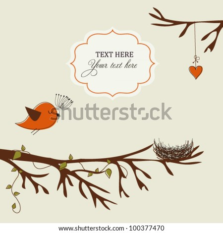 Card with bird and nest - stock vector