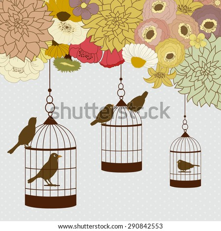 Card with birdcages and birds hanging from colorful flowers