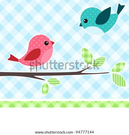Card with birds on branch with textile background. - stock vector