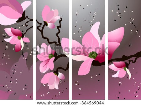 Card with blossoming oriental cherry branch - stock vector
