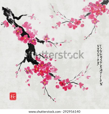 """Card with blossoming oriental cherry branch in traditional japanese sumi-e style on vintage watercolor background. Hieroglyph """"sakura"""". - stock vector"""