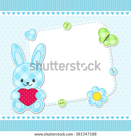 Card with blue bunny for girl. Vector template with place for your text - stock vector