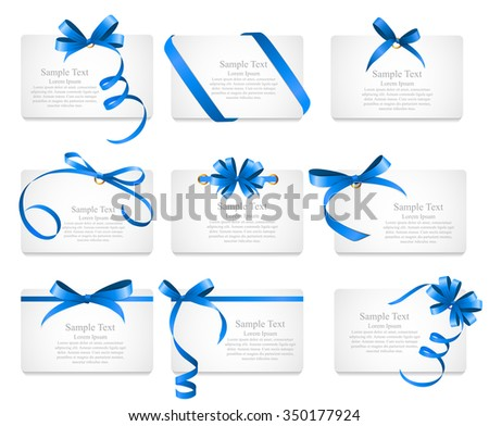 Card with Blue Ribbon and Bow Set. Vector illustration EPS10 - stock vector