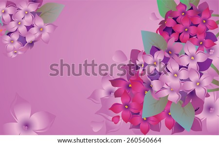 Card with branch of a spring violet lilac