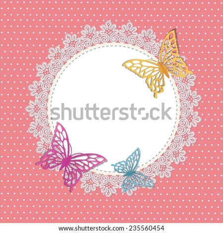 card with butterfly - stock vector