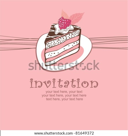 card with cake - stock vector
