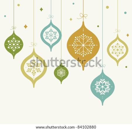 card with Christmas balls - stock vector