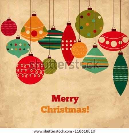 Card with Christmas balls, vintage holiday design with doodled ornaments - stock vector