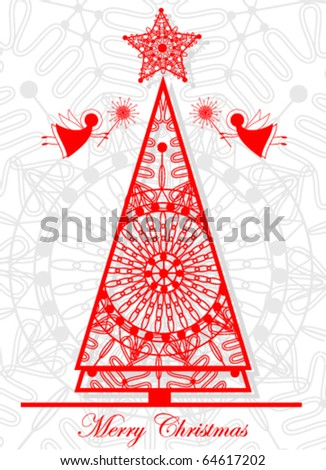 Card with Christmas tree and angels - stock vector