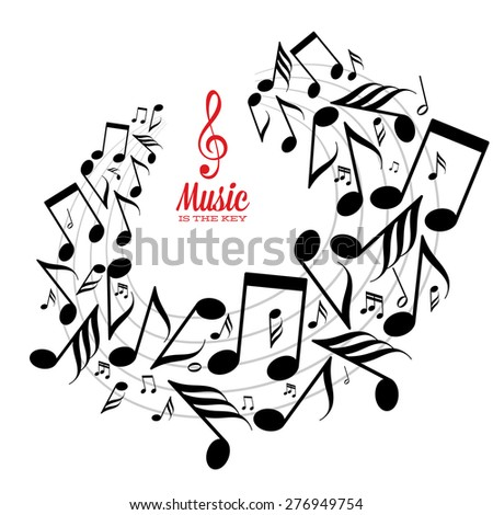 Card with circle of messy scattered music notes on stave. - stock vector