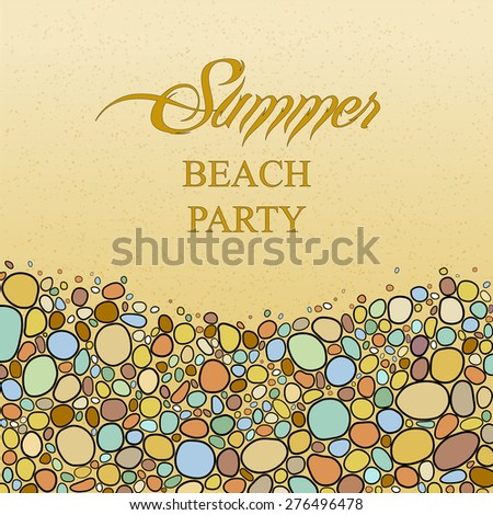Card with colored pebble stones in bright colors. Place for your text.  Summer background, vector illustration. Perfect for greetings, invitations, announcement, web design. - stock vector