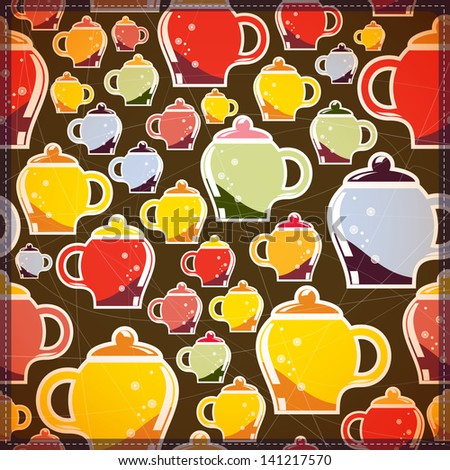 card with colorful tea cups