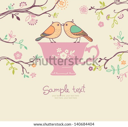 card with cup and birds. coffee or tea background - stock vector