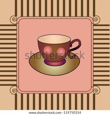 card with cup and saucer - stock vector