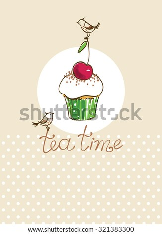 card with cupcake and birds - stock vector