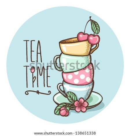 card with cups - stock vector