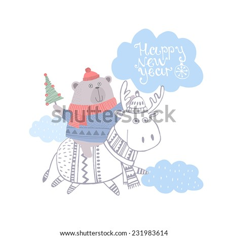 Card with cute deer and bear. New Year background. Vector Illustration - stock vector