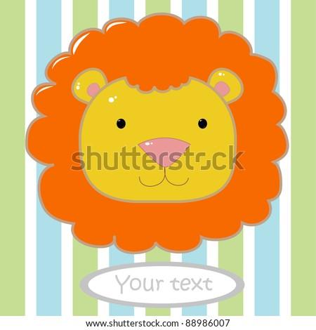 card with cute lion head - stock vector