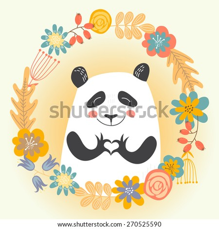 card with cute panda showing heart in Ring of flowers. Vector illustration. - stock vector