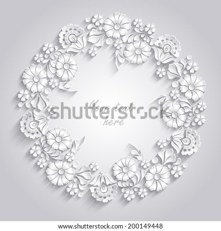 Card with 3d round floral frame   - stock vector