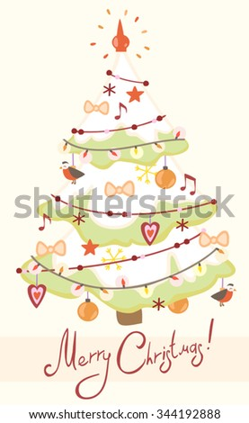 Card with decorated Christmas tree. - stock vector