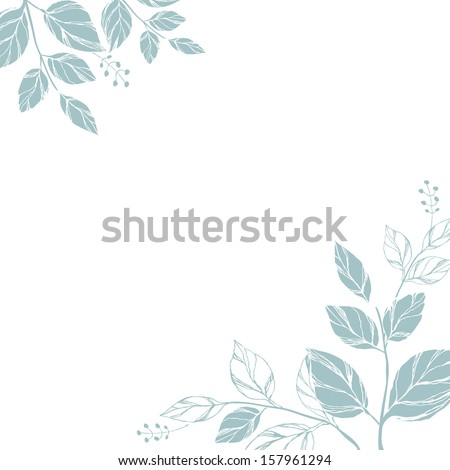 Card with decorative leaves . - stock vector