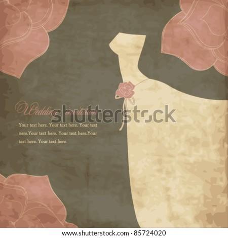 Card with dress, wedding invitation - stock vector