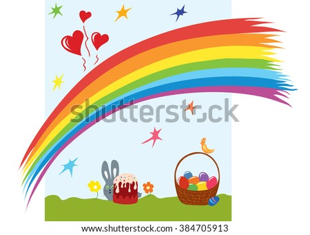 card with Easter eggs in a basket, bird, rabbit, rainbow background/Happy Easter story