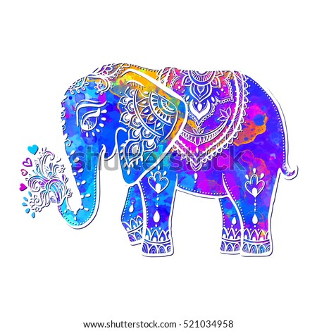 Card With Elephant Frame Of Animal Made In Vector Ornamental Illustration For Design