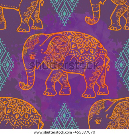 Card with Elephant. Frame of animal made in vector. Pattern Illustration for design, pattern, textiles. Hand drawn map with mandala. Use for children clothes, pajamas - stock vector