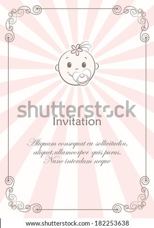 Card with face of smiling new born girl with baby's dummy and calligraphic frame on pink and beige rays. Vector background. - stock vector