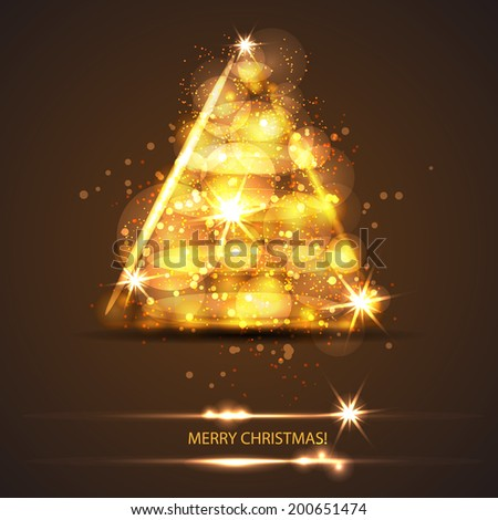 card with fire christmas tree and light stars and particles. Vector template - stock vector