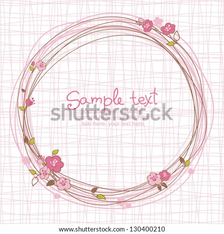 card with floral pattern and text - stock vector