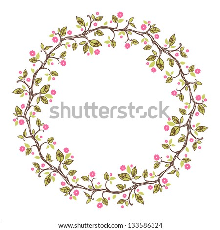 card with floral pattern. wreath of cherry blossom - stock vector