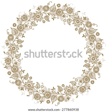 card with floral pattern. wreath of stylized sunflowers. - stock vector