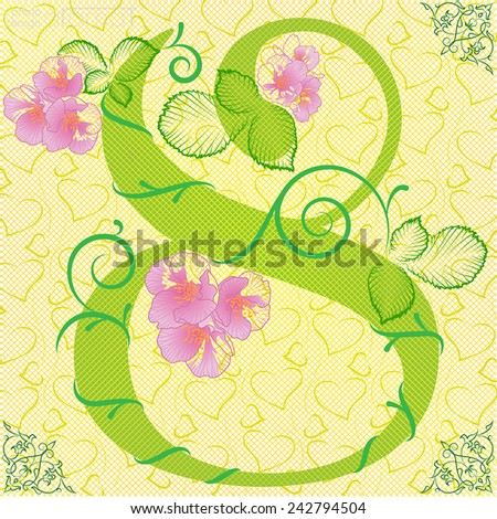 Card with 8 flowers and hearts on background  - stock vector