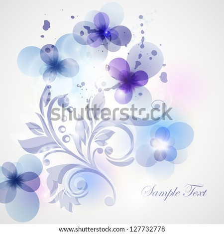 Card with flowers and plot. Invitation card for Valentine  day. Greeting card for mothers day. - stock vector