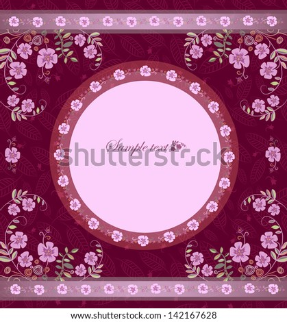card with flowers in circle - stock vector