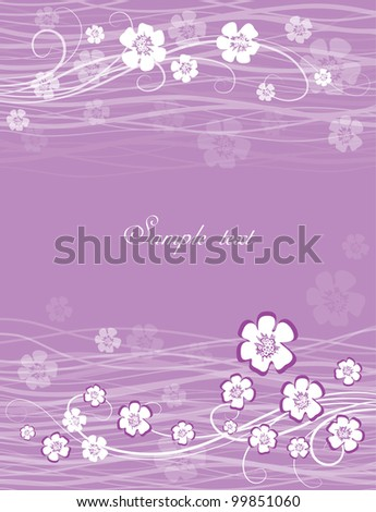 card with flowers on a lavender background - stock vector