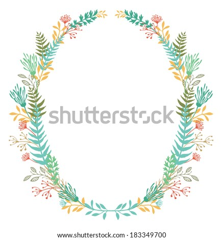 Card with frame of flowers and ferns - stock vector