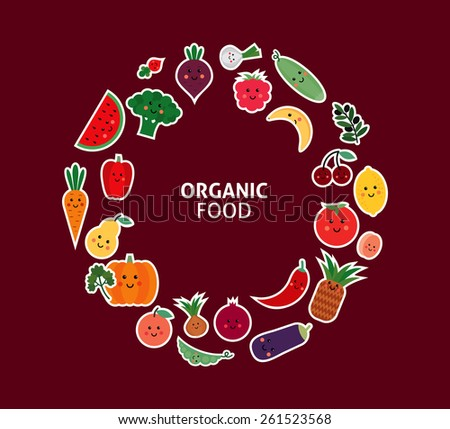 card with fruit and vegetables. Organic food - stock vector