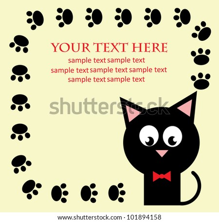 card with fun kitty cat. vector illustration - stock vector