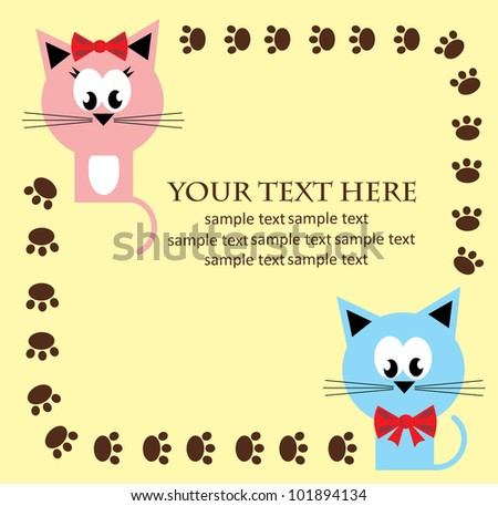 card with fun kitty cats. vector illustration - stock vector