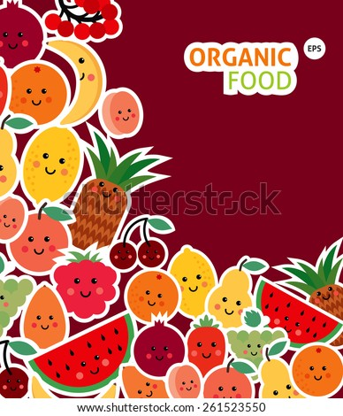 Card with  funny fruit - stock vector