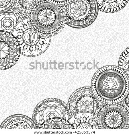 Card with geometric pattern. Floral mandalas. Vector abstract background for invitations, cards and other. Pattern for coloring book for adults