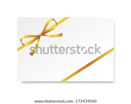 Card with gold gift bow on white. Vector illustration - stock vector