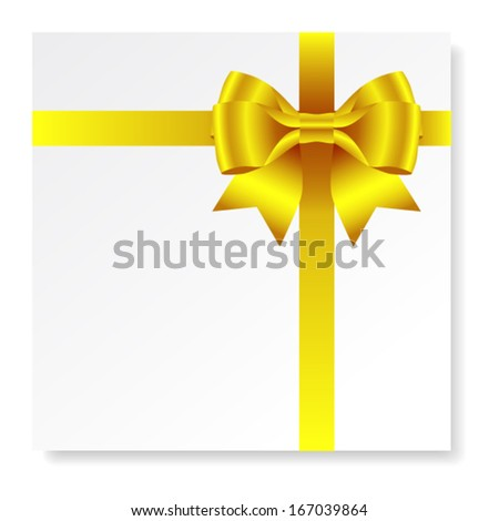 Card with gold gift bow with ribbons, vector